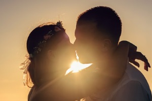 sunset kissing